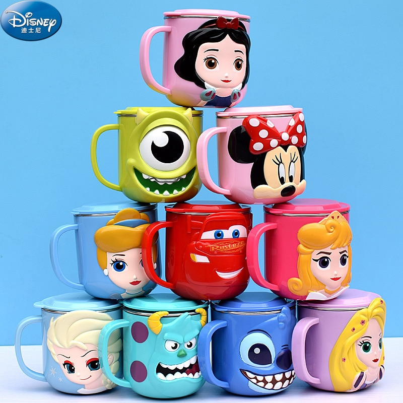 Disney Cups Princess Frozen Elsa Anna Milk Cup 3D Cartoon Mickey Minnie Stainless Steel Cup Kids Cup Mickey Mug Christmas Gift