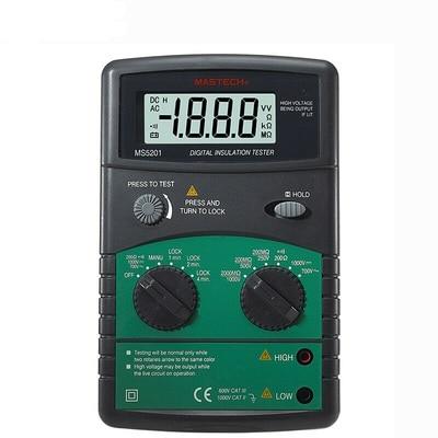 Mastech ms5201 testador de resistência de isolamento digital megger megometro mega ohm som e luz alarme genuíno