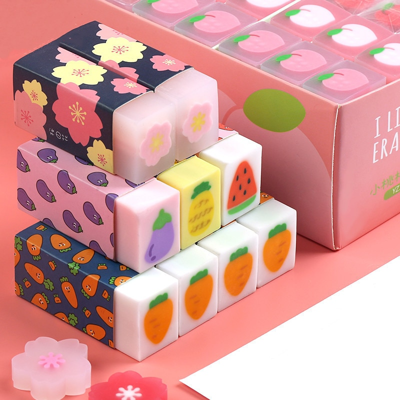 2020 sharkbang 6 pçs criativo trevo sakura cenoura kawaii borracha lápis ferramenta de correção papelaria presente da escola para crianças