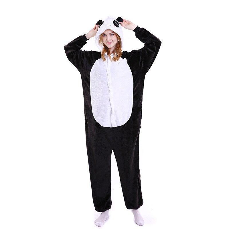 Sanderala Women Panda Onesie Pajamas Autumn Winter Flannel Animal Cute Funny Animal Unicorn Kongfu Nightgowns Sleepwear Homewear