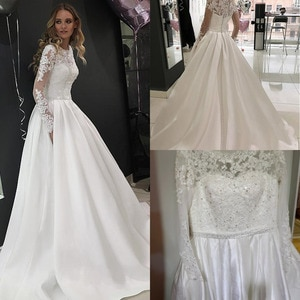 Tulle High Neckline A-Line Wedding Dresses Long Sleeves Crystals Bridal Gown Button Down Wedding Gowns Vestido De Noiva Mariage