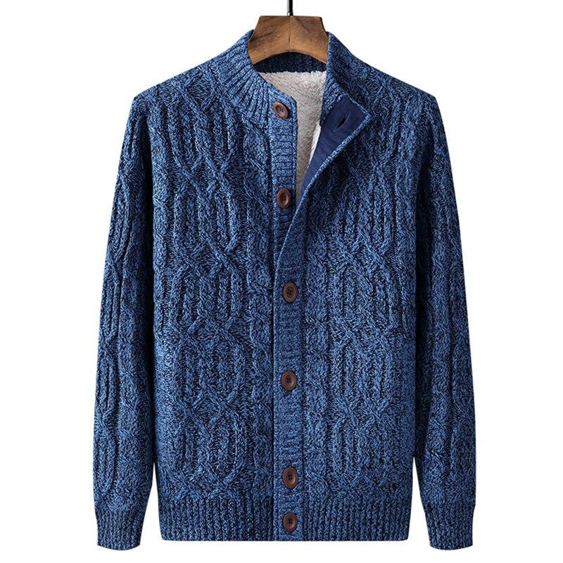 Men Sweater Coat Cardigan Zipper 2021 New Winter Plus Velvet Keep Warm Trend Male Thermal Sweater Thick Korean Style M82