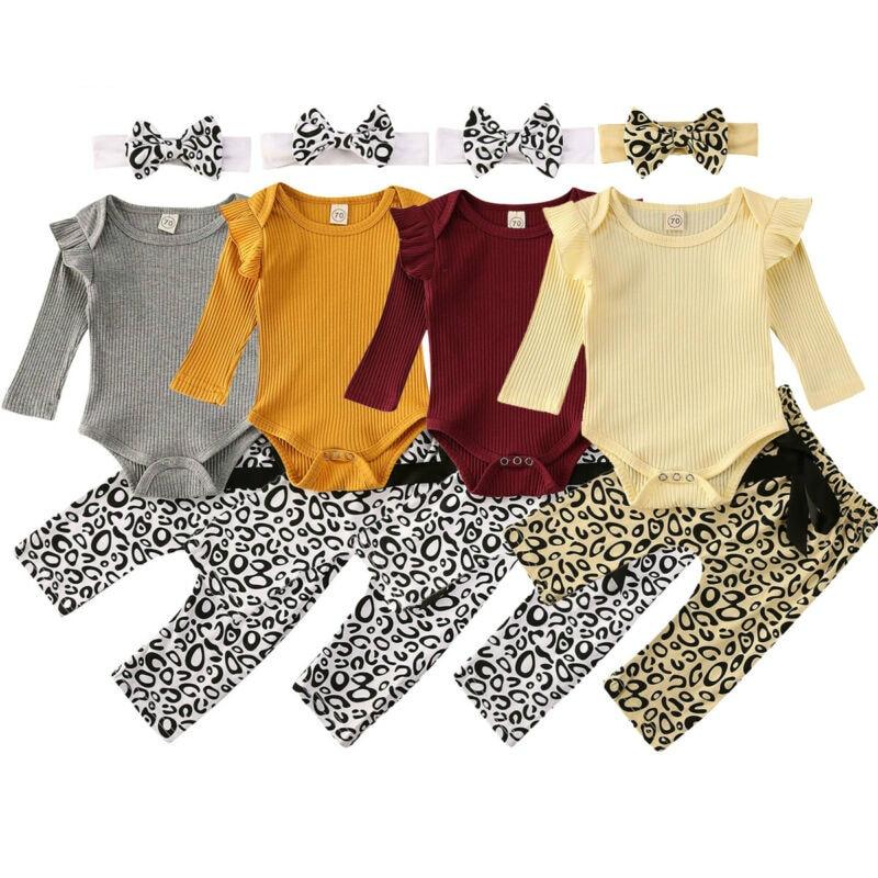 0-18M bebé recién nacido niña mono de algodón de manga larga blusas pantalón largo leopardo diadema 3 uds conjunto de ropa de bebé