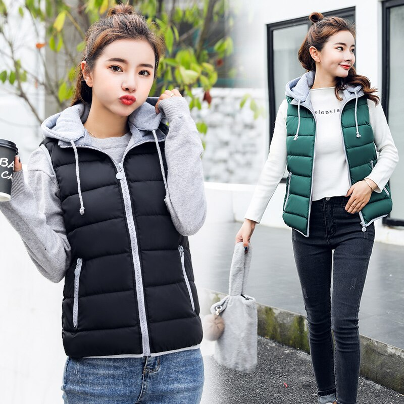 Sleeveless Jackets Women Clothes New 2021 Autumn Winter Vests Women Waistcoat Short Slim Thickening Warm Vest Female Coat Black