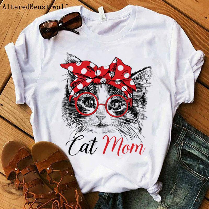 Gato mamá camiseta mujer moda Mama Bandana ropa estampada camiseta bonita femenina dibujos animados pantalón corto casual manga divertida camiseta Tops