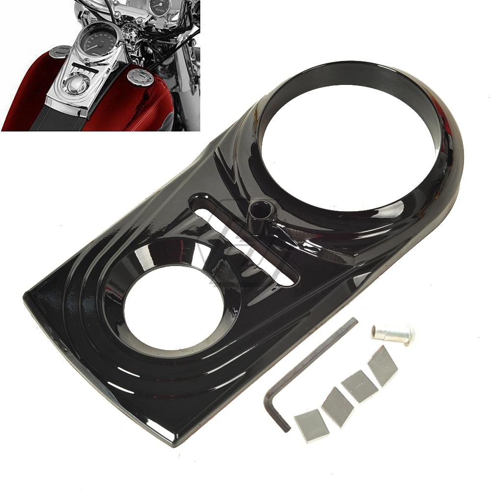 Preto motocicleta painel traço inserir capa guarnição caso para harley softail fatboy fls fxs dyna 1993-2015