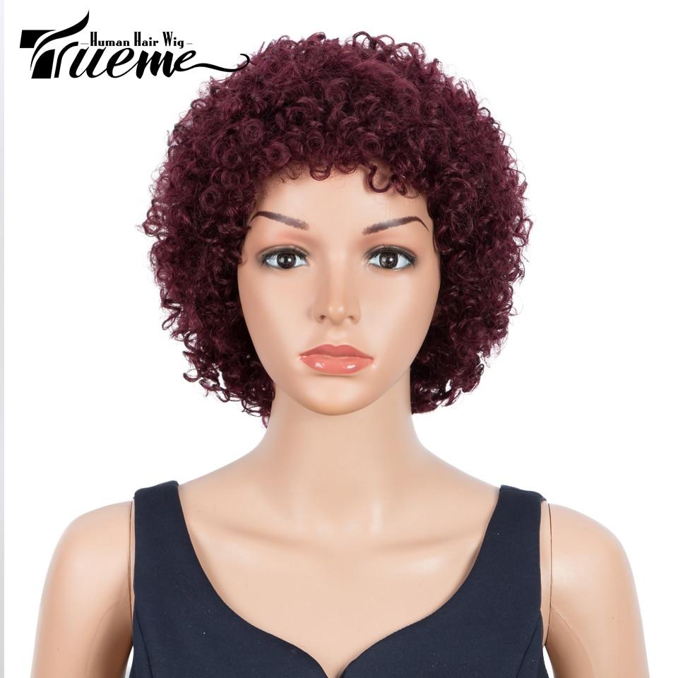 trueme perucas de cabelo humano curto encaracolado para mulheres cabelo humano brasileiro