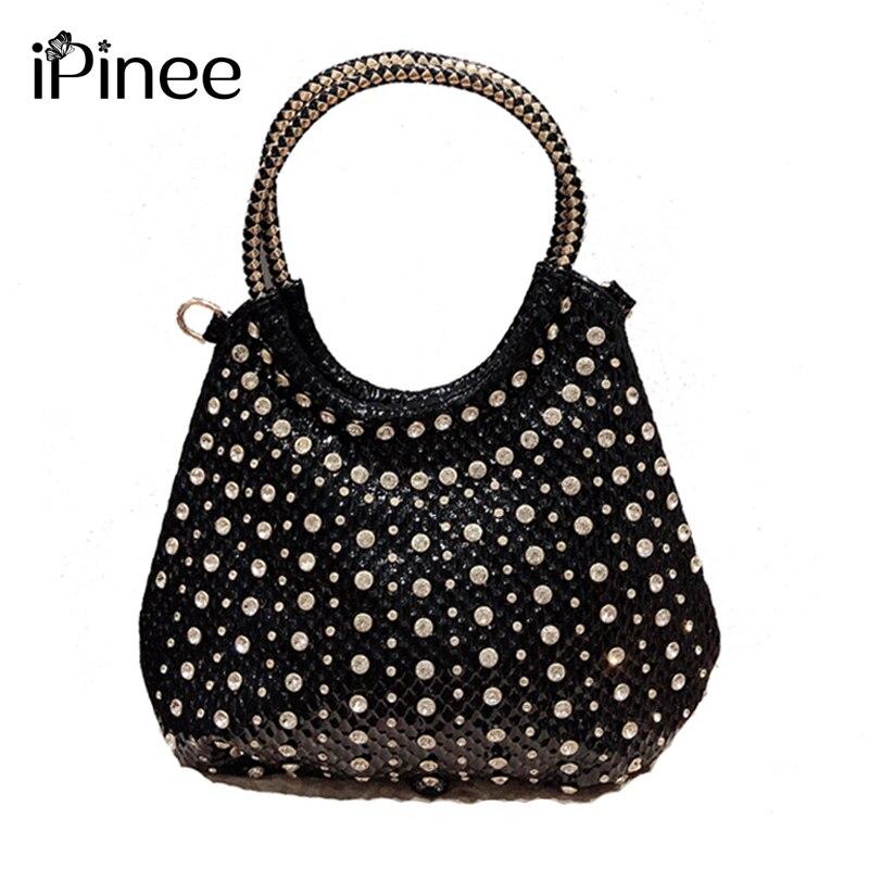 IPinee-حقيبة يد نسائية من حجر الراين ، حقيبة كتف ، سعة كبيرة ، جلد لامع بري ، موضة جديدة