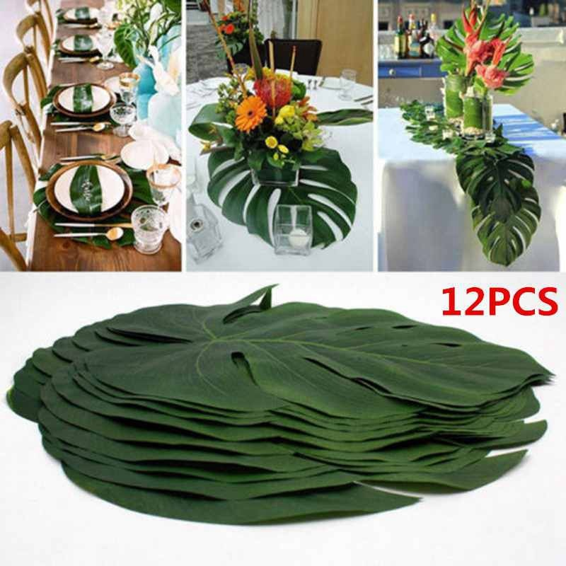 Artificial Tropical Palm Leaves Hawaiian Luau Party Summer Jungle Theme Party Decoration Wedding Birthday Home Table Decor