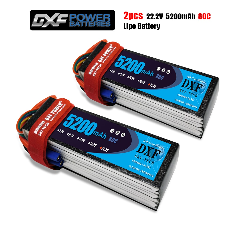 DXF 2PCS Lipo Battery 2S 3S 4S 6S 7.4V 11.1V 14.8V 22.2V 5200mah 80C/160C For RC1/8 1/10 Car XxMax  Buggy TruggyTruck Drone Boat enlarge