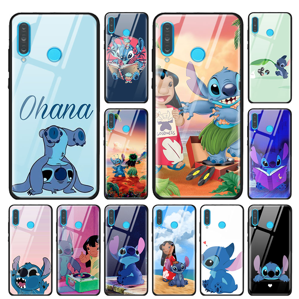 Lilo stitch bonito dos desenhos animados caso de vidro temperado para huawei p30 pro p10 p20 p30 lite mate 10 20 30 pro honra 20 pro 8x 9x capa