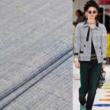Pearlsilk Blauw Wit Tweed Linnen Vlas Stoffen Kledingstuk Materialen Herfst Jas Jurk Naaien Doek Voor Meter Tailor Freeshipping