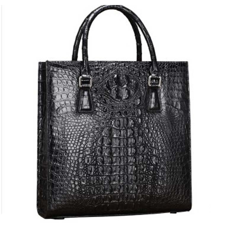 baosidu New man crocodile leather male briefcase business  crocodile leather computer  male bag black men handbag