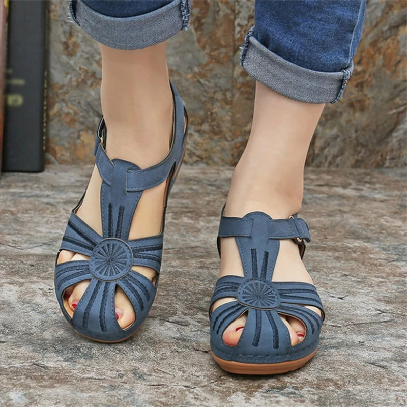 2020 New Woman Summer Pu Leather Vintage Sandals Buckle Casual Sewing Women Shoes Solid Female Peas Shoes Ladies Platform Shoes