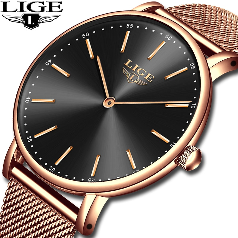 2021 LIGE New Rose Gold Women Watch Business Quartz Watch Ladies Top Brand Luxury Female Wrist Watch Girl Clock Relogio Feminin enlarge