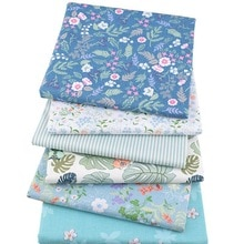 6 pièces/ensemble 25x2 5cm/25x20cm tissu Patchwork beau cadeau pour ménage multi-usages fleur bleue bricolage couture artisanat coton tissu