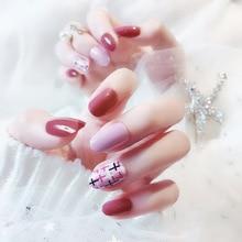 Uñas postizas de 24 Uds de cobertura completa Taro púrpura cereza roja con diseños de Cruz dulces puntas de uñas artificiales de moda