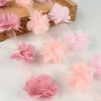 24 heads chiffon lace cluster flowers lace trim pom pom dress skirt accessories girls clothing appliques trimmings sewing fabric
