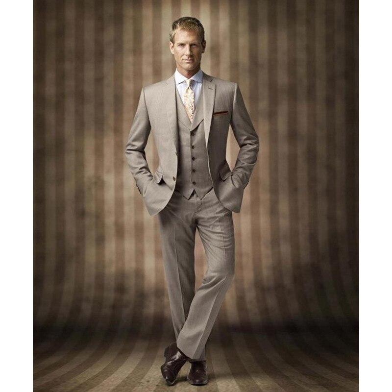 Novedad, trajes de hombre Khaki, trajes de padrino de boda, chaqueta + pantalón + chaleco