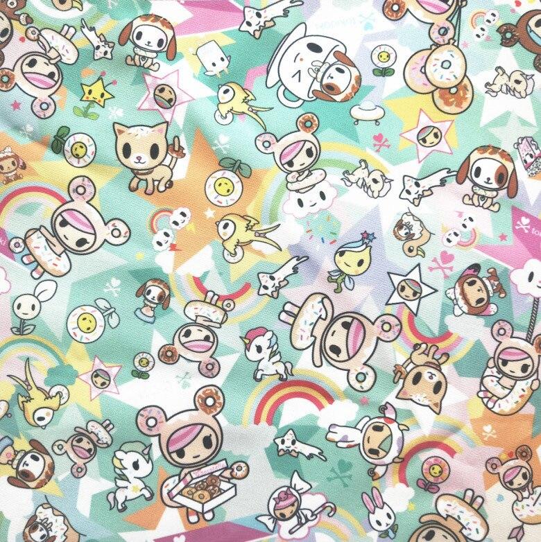 148cm Width Cartoon Dog/Cat/Unicorn/Star Printed Canvas Fabric  For Cushion Cover/Diy Handbag/Slipcover/Curtain DIY Sewing