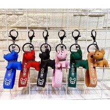 French Punk Bulldog Keychain PU Leather Dog Keychains For Women Bag Charm Trinket Men Car Key Ring Key Chain Jewelry 2020