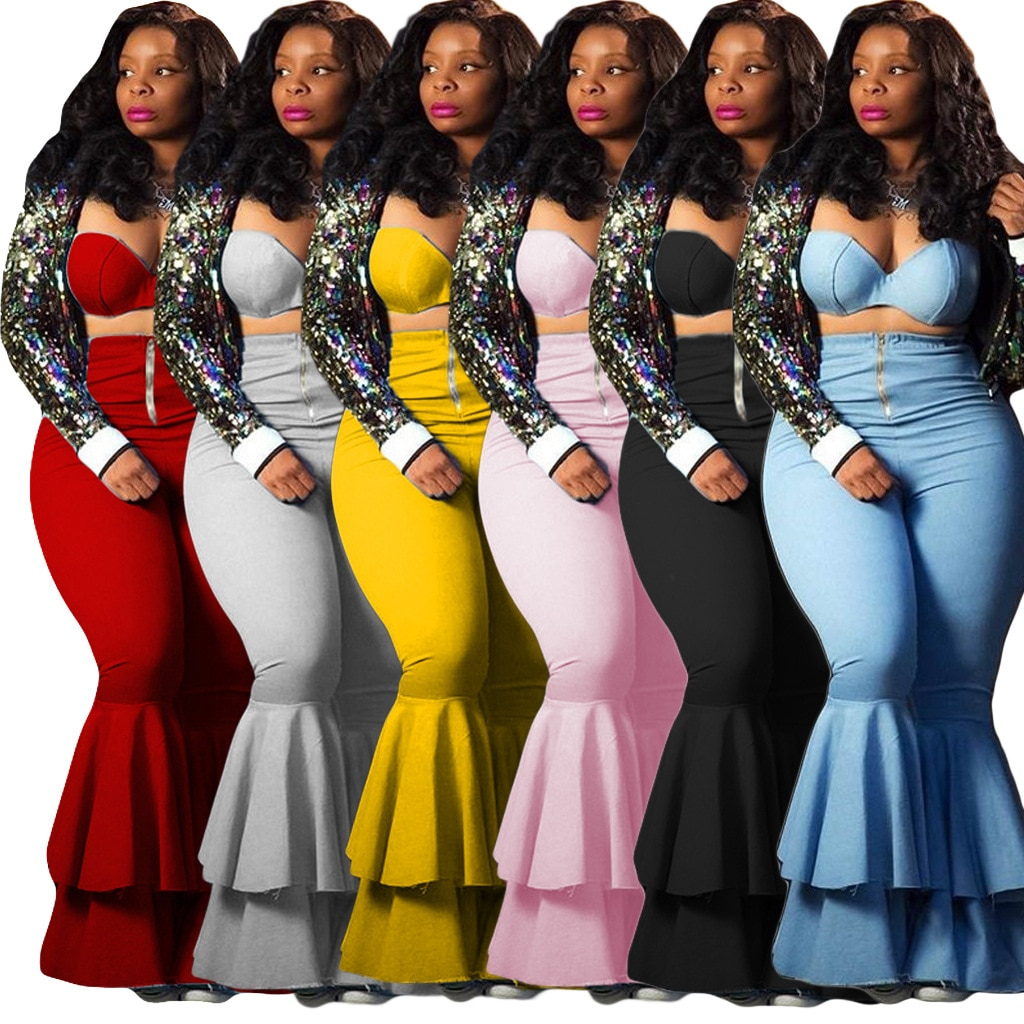 Two Piece Set Outfits for Women Fall Clothes Casual Strapless Full Length 2 Sexy Ladies Two-piece Suit