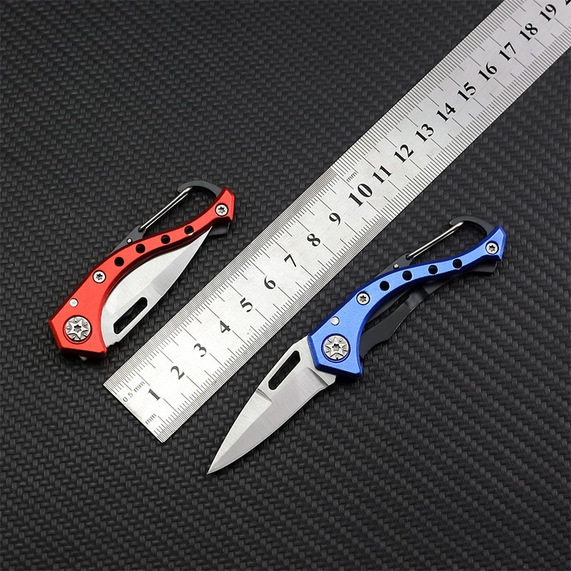 Dropship Stainless Steel Folding Knife Blade Aluminum Handle Portable Hanging Outdoor Camping Paring Knives Hand Tools