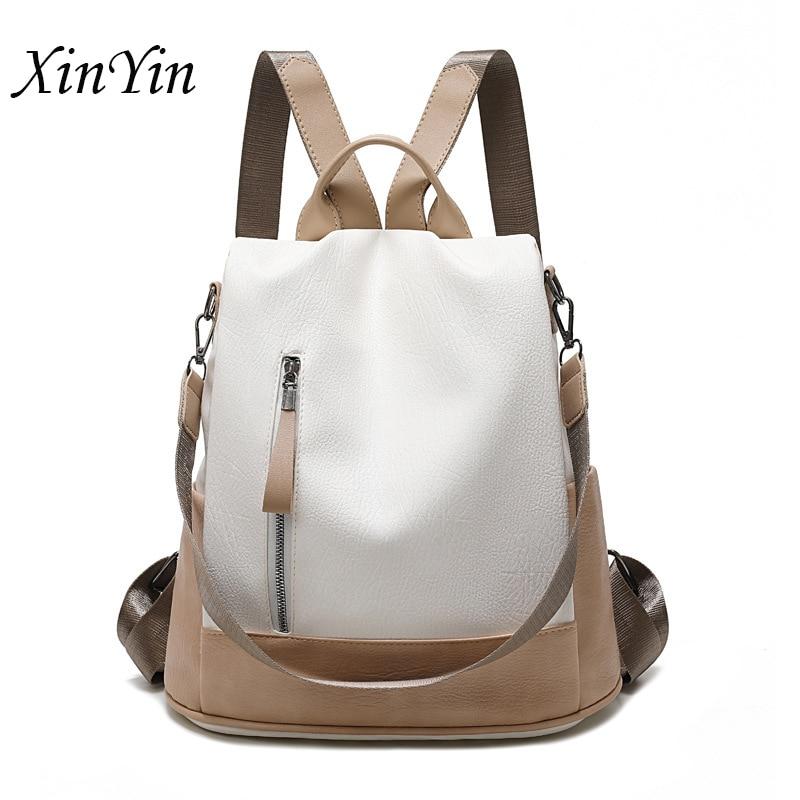 Модный женский рюкзак контрастных цветов, кожаный Простой дизайн в школьном стиле, повседневный разноцветный женский рюкзак на плечо, 2019