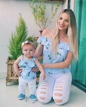 Familie Bijpassende Outfits Pasgeboren Baby Meisje Mom Baby Crop Tops Off Shoulder Blouse Gat Jeans Kleding Denim Broek Outfits Set