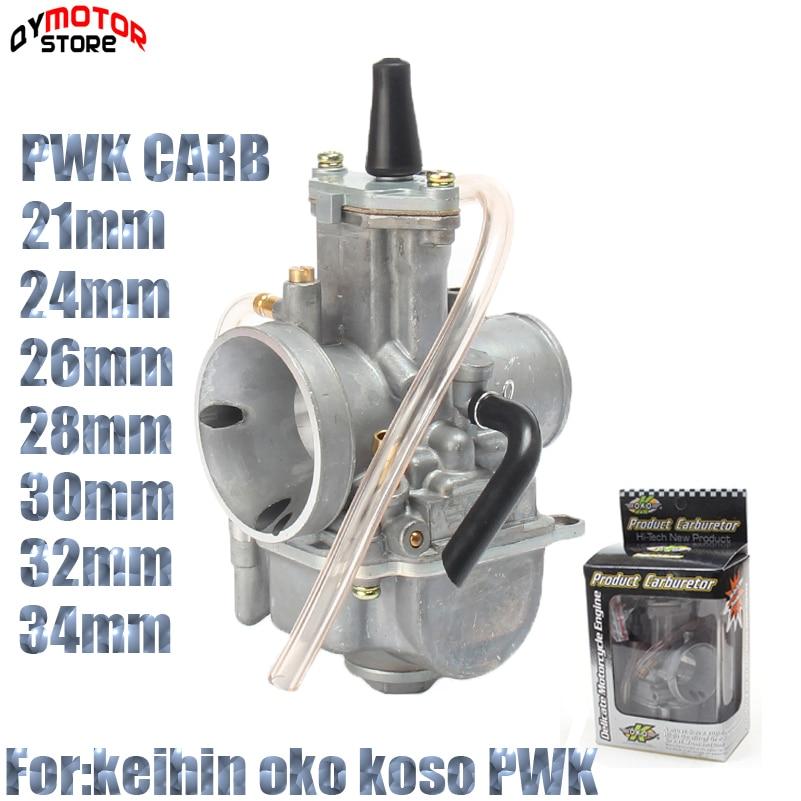 Hohe qualität PWK 21mm 24mm 26mm 28mm 30mm 32mm 34mm Carburador Für 2T 4T Moto Racing Vergaser Koso OKO Keihi Mit Power Jet