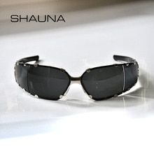 SHAUNA Anti-Blue Light Rivets Brand Designer Goggle Sunglasses Fashion Punk Shades UV400