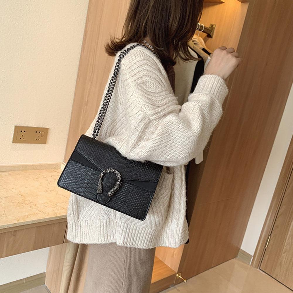 Маленькая женская сумка C 2020, трендовая Корейская сумка через плечо с узором «крокодиловая кожа» на цепочке, тисненая сумка Bacchus