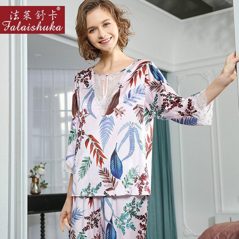 جديد الأزهار الطازجة الحلو 100% بيجامة من الحرير الطبيعي مجموعات النساء ملابس خاصة طويلة الأكمام نوبل حقيقية الحرير المرأة بيجامة T8205