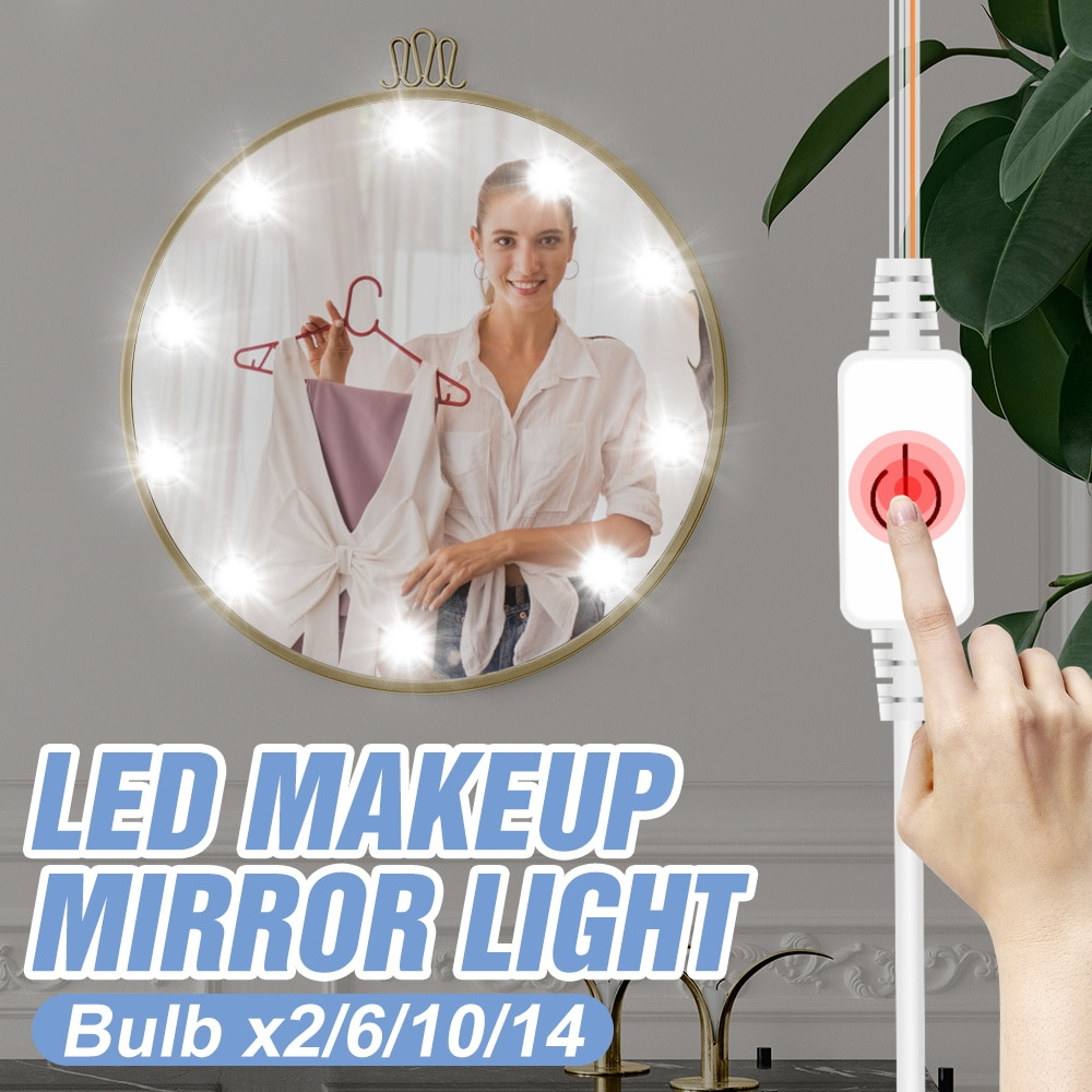 2 6 10 14 Bulbs 3 Colors Dimmable LED Mirror Light Makeup Lamp USB 12V Cosmetic Lights Kit LED Dressing Table Bulb Vanity Lamp