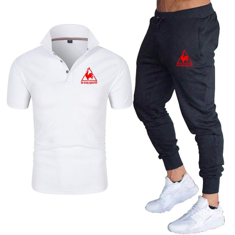 Men Casual Set Fashion 2 PCS Sweat Suit Striped trousers Sleeve T-shirt trousers Sets Male Sportswear Tracksuit Summer Sportsuit