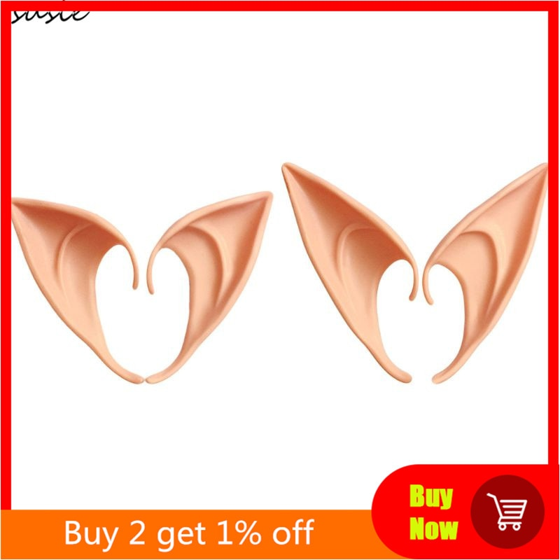 1 Pair Halloween Party Elven Elf Ears Pointed Anime Fairy Cosplay Costumes Vampire Soft Christmas Pa
