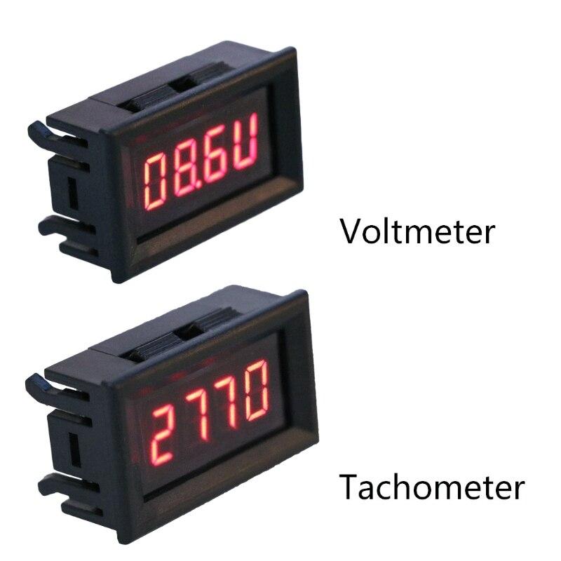 Tacómetro LED 2 en 1, medidor Digital de RPM, voltímetro para Motor de coche, motocicleta, velocidad de rotación