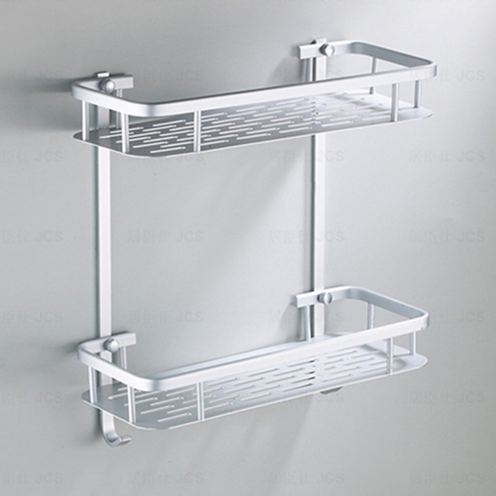 Hanging Hook Storage Rack Bathroom Shower Bath Shampoos Holder Aluminium Shelf