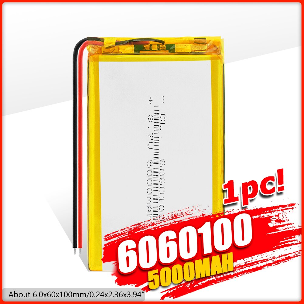 3.7V 5000mAh Li-Bateria de polímero de 6060100 Para DVD Tablet MID GPS Elétrica MP3 GPS iPad Impressora Portátil laptop, e-book