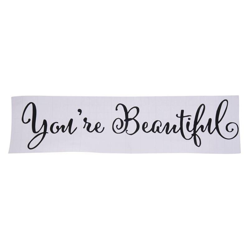 Youre Beautiful Quote Зеркальная Наклейка для гостиной резьба на стену Наклейка на домашний декор для окна (черный) 9*27 см