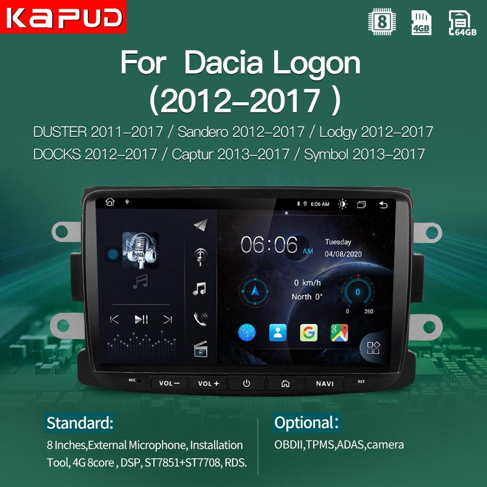 Kapud-راديو GPS للسيارة مقاس 8 بوصات ، Android 10.0 ، ملاحة ، DSP ، BT ، لـ Dacia ، Sandero ، Duster ، Captur ، Lada ، Xray ، Logan ، code ، dock ، Lodgy