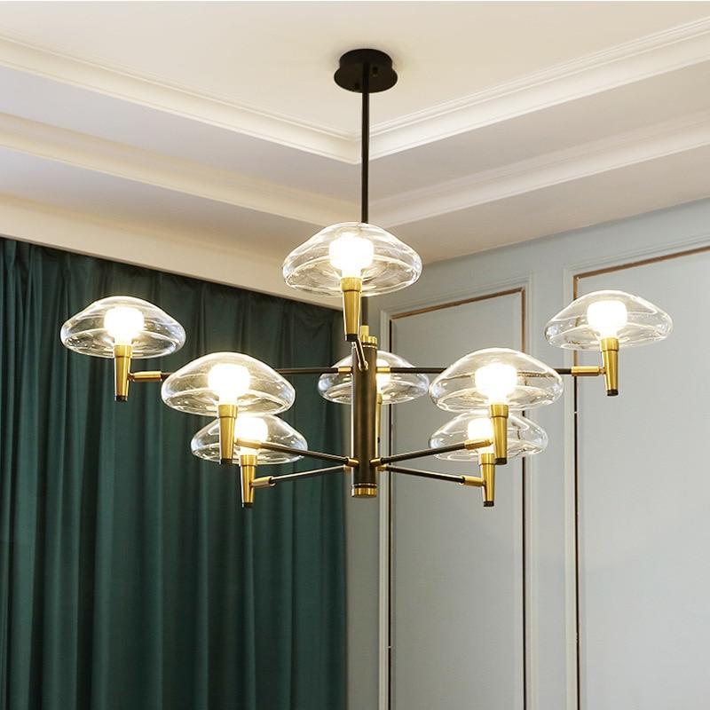 Creative jellyfish lamp Nordic living room dining room bedroom lamp theme hotel glass iron Pendant Lights WF1212935