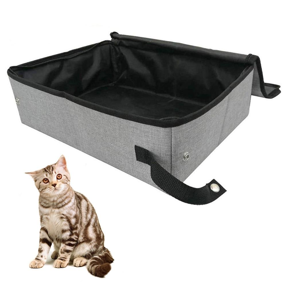 Inodoro portátil con cubierta accesorios para mascotas hogar fácil de limpiar Camping al aire libre gato caja de arena impermeable plegable Oxford tela suave