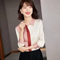 autumn fashion women stitching color silk blouses shirts elegant female slim long sleeve shirt tops blusa