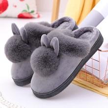 Femmes hiver pantoufles fourrure oreilles de lapin en peluche velours neige femme pantoufle intérieur maison chaussures grande taille dames doux confort chaussures