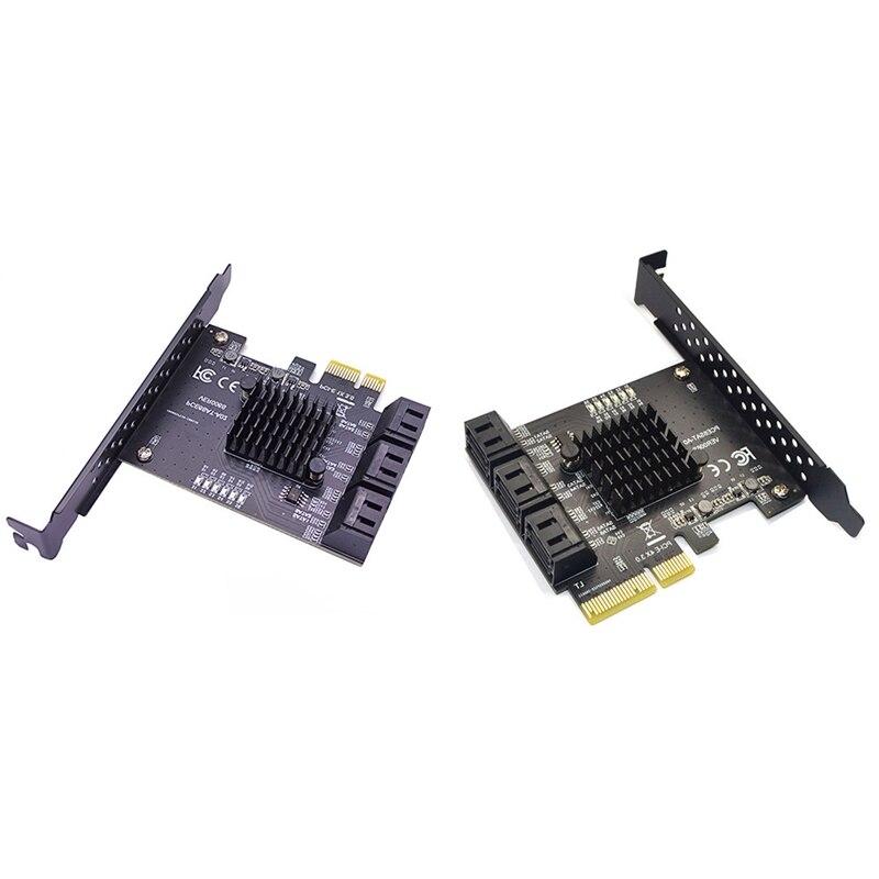 6Gbps SATA 3.0 إلى PCI-E بطاقة وحدة التحكم 6 منافذ SATAIII PCIe بطاقة التوسع PCI Express محول محول