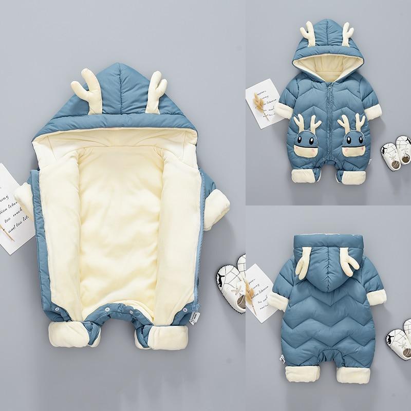 OLEKID 2020 Baby Winter Snowsuit Plus Velvet Thick Baby Boys Jumpsuit 0-2 Years Newborn Romper Baby