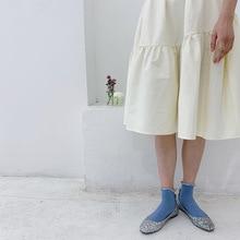 Yanziku Spring Summer Screw Type Silver Lace-up Short Socks Womens Japanese-style Solid Color Fashion Socks Lurex Cotton Socks