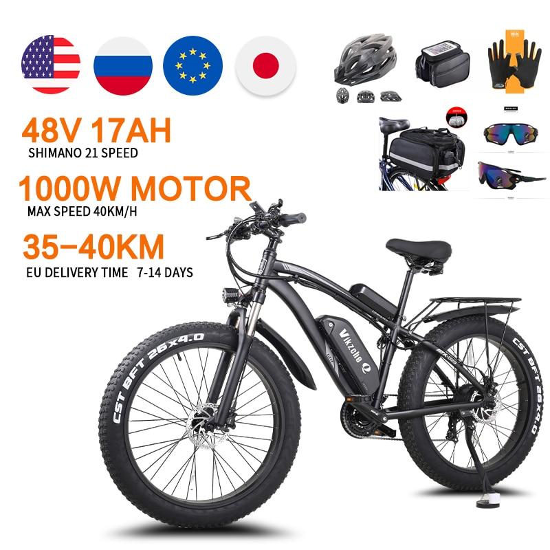 Electric Bicycle 1000W 48V17Ah Lithium Battery 26 Inch 4.0 Fat Tire Mountain Bike Snow E-bike Shimano 21 Speed ebike