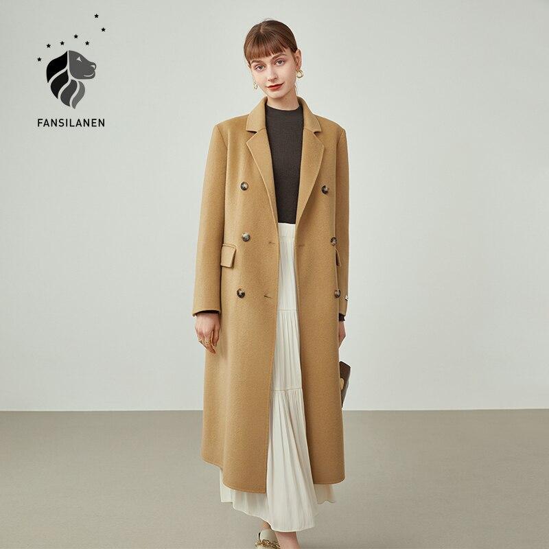 FANSILANEN النساء منتصف طول دعوى طوق المعاطف الصوفية ضئيلة خندق معطف نمط 100% معطف الصوف الرجعية الركاب الصلبة مستقيم جاكيتات